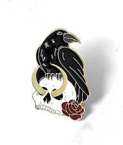 Raven with Skull Pin Badge Brooch. Rook Crow Odin Wiccan Goth Heathen Asatru