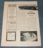 1953 Allard Motors JR Competition Roadster Vintage Info Article