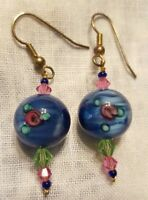 NEW PIERCED DANGLE EARRINGS ♡ BLUE GLASS WITH BLUE GREEN AND PINK BEADS