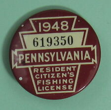 1948 Pennsylvania Fishing License Resident Button.Free Shipping!