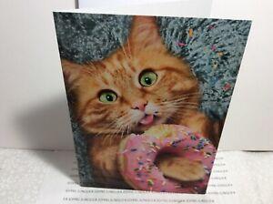AVANTI PRESS HAPPY BIRTHDAY GREETING CARD New with Envelope Cat w/donut!