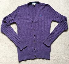 Crew Clothing Purple Cable Cardigan Jumper Top UK 8