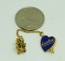 USN Navy Sweatheart Gold Enamel Lapel Pin Anchor and Heart with Arrow