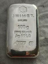 5x  Unimet 100g Fine Silver Ag 999.0 Cast Bar  £97 each