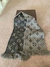 Louis Vuitton LV Logomania Scarf Wool Winter Beige Brown Preowned Authentic Wrap