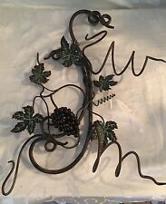 Hanging Double Wine Bottle Holder With Iron Tendrils Grape Leaf Design~Rare