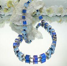 TRAUMHAFTE WÜRFELKETTE  diverse WÜRFEL CUBE Millefiori Blau Glas facettiert 092m