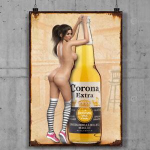 Corona Sexy Vintage Metal Tin Plaque Signs Man Cave Pub Club Cafe TIKI BAR Pinup