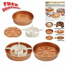 Copper Chef Perfect Cake Pan BOGO Magic Middle Pockets Cutters Baking 3Pc Set