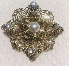 """Pearl Rhinestone Brooch Pin 2"""" Gold Tone Filigree Faux"""