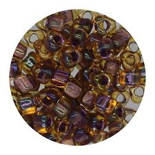 Japanese Glass Triangle Bead 5/0 Lined Amber Shimmering Lavender