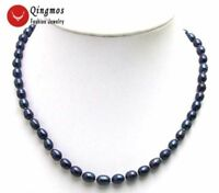 """6-7MM Rice Black Natural Freshwater Pearl 17"""" Necklace for Women Jewelry nec5591"""