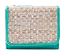 Croft & Barrow Women's Aqua & Straw Anna Indexer RFID-Blocking Wallet-NWT