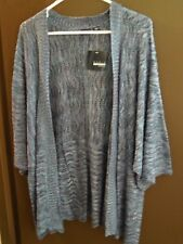 NWT - Basic Editions - Open Front Sweater - 3X - Navy Blue / White Marble Affect