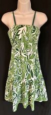 Cinnamon Girl Dress Size 8 Floral Green White Silk Hawaii Empire Shift Sundress