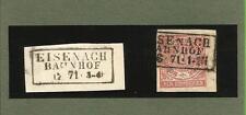 Preußen / EISENACH / BAHNHOF je Ra3 auf NDP-GAA 1871 + auf Blanko-Briefstück