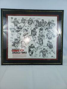 "Vtg 37""X33"" Signed Framed Kansas City Chiefs Ambassadors Poster NFL Memorabilia"