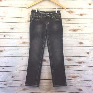 Justice Size 10 Jeans Girls Straight Leg Black Denim White Stitching