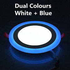 LED 24W RECESSED ROUND CEILING WHITE + BLUE EDGE PANEL LIGHT DOWNLIGHT 3 MODES