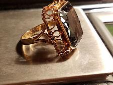 Vintage Large Green Gem Stone Cut  Ring 14K Yellow Gold