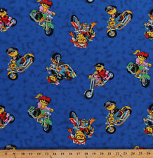 Bikers Motorcycles Hot Chick Chickens Motor Bike Cotton Fabric Print BTY D672.32