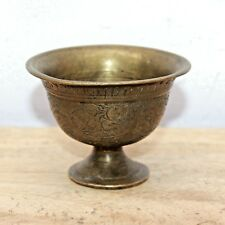 1930s Old Antique Beautiful Hand Carved Floral Design Brass Cup / Mug / Glass#58