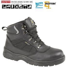 Mens Black Grafters Safety Waterproof Steel Toe Cap Ankle Work Boots
