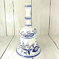 """Vintage Delft Blue & White Hand  6"""" Painted Windmill Bell Made In Japan"""