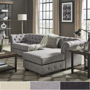 Knightsbridge Tufted Scroll Arm Chesterfield 4-Seat Sofa and Chaise sectional