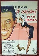 Le Confident de Ces Dames Fernandel 40 x60 cm Original French Movie Poster 50s