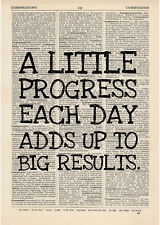 A little progress each day Dictionary Art Print Book page Motivational Inspire