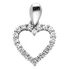 "14K White Gold 0.25 ct Diamond Pave Open Heart Love Pendant Charm 1/2"" 0.6gr"