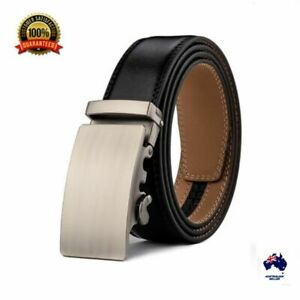 XHTang Men's Fashion Automatic Buckle Real Leather Ratchet Belt Waistband Jeans