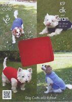 K9 Knitting Pattern King Cole Aran & Double Knitting Dog Blanket & Coats