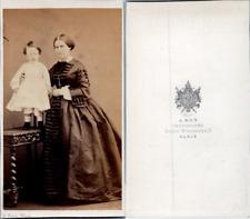 Ken, Paris, mère et enfant Vintage albumen print. CDV CDV, tirage