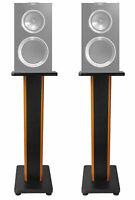 "Pair 28"" 2-Tone Speaker Stands For KEF R300 Bookshelf Speakers"
