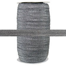 100 Yard Spool - Fold Over Elastic - Gray Glitter Fairy - 5/8in Wide - FOE