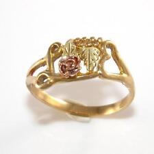10K Black HIlls Gold Rose Gold Heart Flower Ring Size 8 LQ4-G