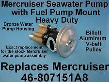 SEA WATER PUMP MERCRUISER W FUEL PUMP MOUNTING BOSS, BRONZE PUMP BILLET PULLEY