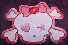 HORROR HIGH PATCH MONSTER HIGH PINK GIRLY SKULL PINK BOW