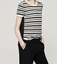 Ann Taylor LOFT Striped Swing Back Sweater Pullover Top Size Small, Medium Black