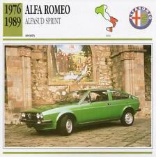 1976-1989 ALFA ROMEO ALFASUD SPRINT Sports Classic Car Photo/Info Maxi Card
