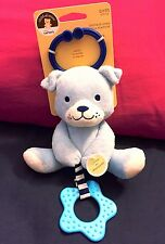 Baby CARTERS Chime & Chew Chime Rattle Teething Toy Plush Blue Puppy Dog