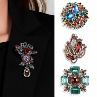 Retro Flower Crystal Glass Brooch Pins Elegant Women Prom Jewelry Party Gifts