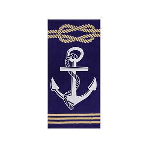 Anchor Navy Blue Premium Beach Towel, 100% Cotton Soft Large Turkish Bath Towel