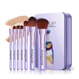 Girls Women Travel Make up Brushes Set Cosmetic Tool Kabuki Makeup Kit +Tin Box