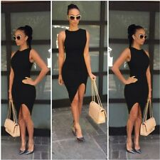 Women Short Slim Irregular Mini Dress Cocktail Party Evening Bodycon Sleeveless