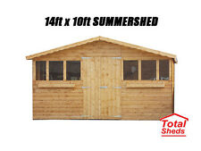 14FT X 10FT GARDEN SHED/SUMMER HOUSE WITH +1FT OVERHANG HIGH QUALITY TIMBER