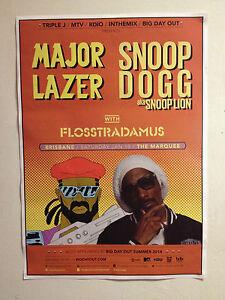 MAJOR LAZER SNOOP DOGG aka LION 2014 Australian Tour Poster *BRISBANE Only* NEW
