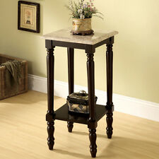 Tall Square White Marble Top Espresso Wood Plant Telephone Stand Accent Table
